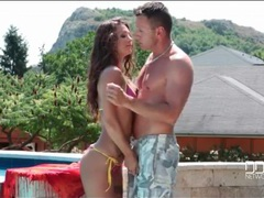 Hot body beauty in a shiny bikini sucks cock outdoors movies at kilopics.net