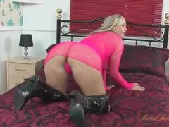 Thick milf body in smoking hot pink fishnets movies at lingerie-mania.com