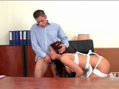 Secretary blows her boss on his desk videos