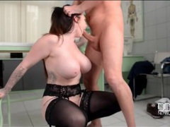 Slut in stockings and a garter belt gets face fucked movies at lingerie-mania.com