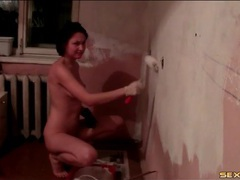 Nude teen beauty paints the messy walls white videos