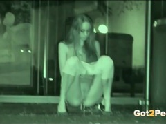 Night vision camera captures a girl taking a piss videos