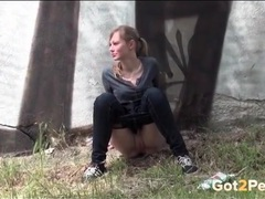 Pierced and shaved pussy girl pees outdoors videos