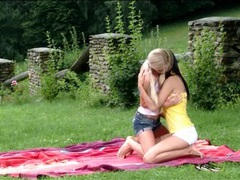 Lesbian sex picnic with two stunning beauties videos