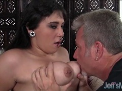 Pierced fat girl blows his older man dick videos
