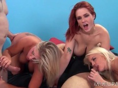 Curvy cocksucking ladies fucked in a great group scene movies at kilotop.com