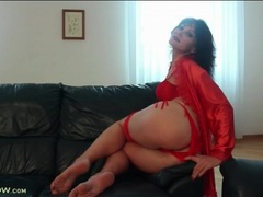 Soft red satin robe and lingerie on a hot mature movies at kilotop.com