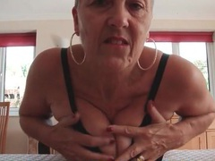 Busty granny teases her big tits and sexy ass movies at kilopics.net