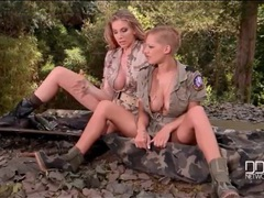 Lesbians in uniform fool around and fondle tits outdoors videos