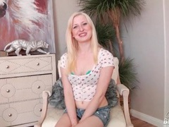 Blonde in a little cardigan and jean skirt sucks dick videos