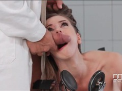 Tied to an exam chair and fucked in the mouth videos