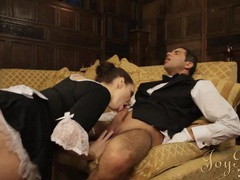 French maid and the butler have hot sex at work tubes