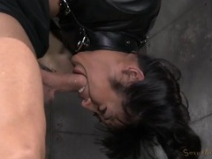 Girl in a straitjacket hangs upside down and sucks dick videos