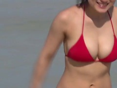 Perfect asian bikini body looks amazing on the beach videos