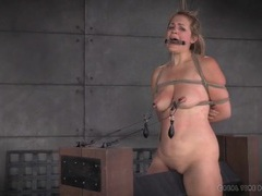 Clamps and weights hang off her sensitive nipples movies at find-best-hardcore.com