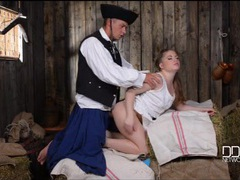 Pretty farm girl fucked in a barn by a horny soldier videos
