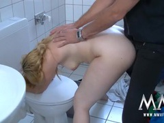 Big ass cutie bent over the toilet and boned movies