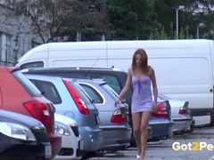 Chick lifts her dress to piss in a parking lot movies at lingerie-mania.com