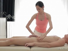 Big tits masseuse works his cock with talented fingers videos