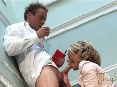 Sex in the stairwell with a big breasts blonde videos