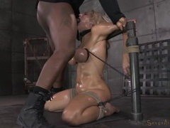 Tied tits girl gags on the cock in her throat movies