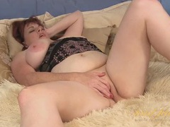 Chubby mature sucks her tits and masturbates solo videos
