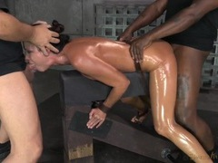 Spit roasted slut india summer in sexy bondage videos
