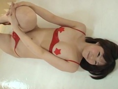 Red latex bikini looks hot on a japanese girl videos
