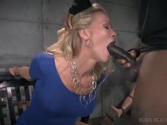 Dungeon blowjobs from a cuffed milf in a tight dress videos