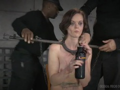 Metal bar bondage for a slender brunette beauty videos