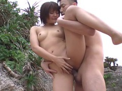 Beach threesome with a naked japanese beauty fucked hard tubes at japanese.sgirls.net