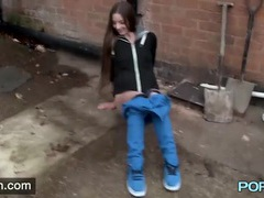 Pretty long haired girl pees on the streets of britain movies at freekilomovies.com