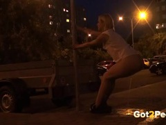 Drunk girl drops her shorts and pees in public videos