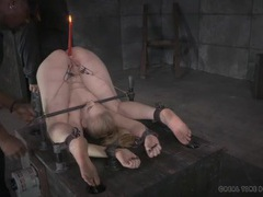 Lit candle in the asshole of a bound girl videos