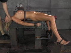 Slave girl coated in oil and fucked down the throat movies at find-best-pussy.com