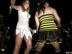 Slutty costumes on hot ladies dancing at a party tubes