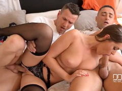 Sexy euro girl in black stockings fucks two guys tubes
