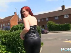 Skintight black leather on a hot chick in public videos