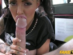 Slut in wet look leggings fucked in the back of a taxi movies at sgirls.net