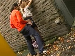 Passionate couple has incredible sex in an alley videos