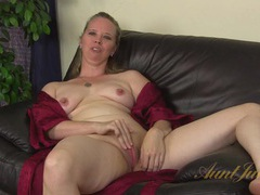 Milf opens her robe and plays with her clit videos