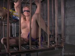 Tattooed slave girl played with in a cage videos