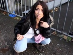 Breathtaking beauty in tight jeans pees in public tubes