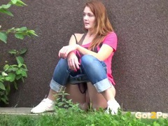 Redhead takes a piss on the sidewalk movies at find-best-lesbians.com