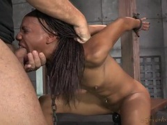 Slut chained in the dungeon worships a dick videos