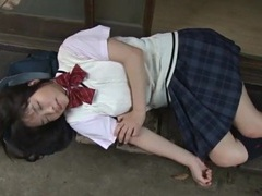 Japanese schoolgirl eri sasaki in a sweater and skirt tubes at lingerie-mania.com