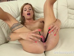 Tattooed girl has fun stretching out her pussy movies at adspics.com