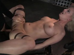 Throat and cunt of a bound girl used by two guys movies at freekilomovies.com