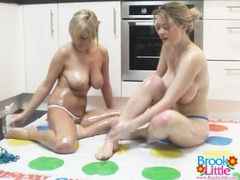 Lesbians oil up and play a game of twister movies