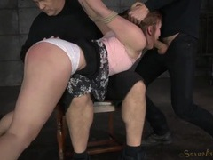 Sweet looking girl in bondage gets spanked and face fucked videos